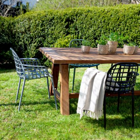 Outdoor Tisch Teak mit Designer Gartenstuhl Albert Kuip