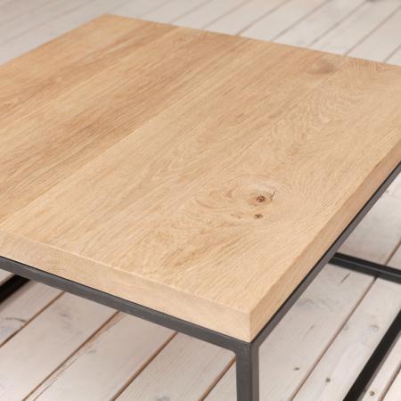 Couchtisch mit Tischplatte Eiche und Stahl Gestell