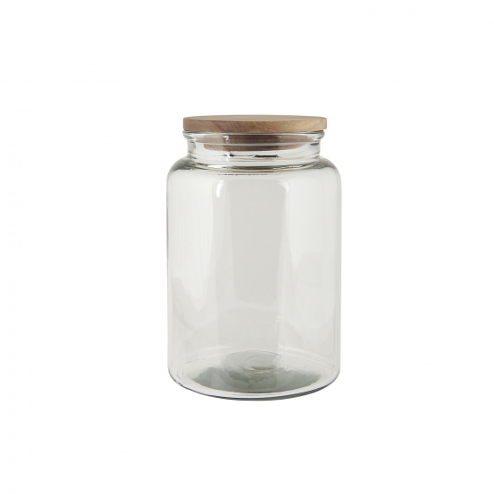 Ib Laursen  - Glasbehälter mit Holzdeckel, H: 23,5 Ø: 16